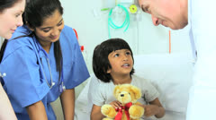Asian Indian Female Child Patient Nursing Staff Stock Footage