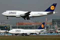 lufthansa boeing 747 - stock photo