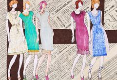 young women in elegant midi summer dresses - stock illustration