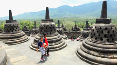 Panorama on top of Borobudur Temple. Stock Footage