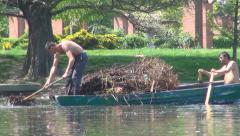 Polluted Lake, People Trying to Unpolluted the Pond, Water Pollution Stock Footage