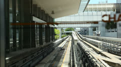 The train between the air terminal in Singapore Stock Footage