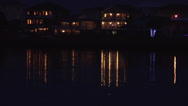 Water residence with light reflection 3, night Stock Footage