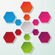 flowchart with colorful paper hexagons - stock illustration