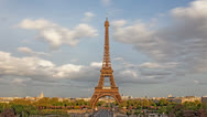 Stock Video Footage of Eiffel Tower sunset Paris, France, time lapse HD