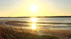 Waterway sunset 2, static, 1500% Stock Footage