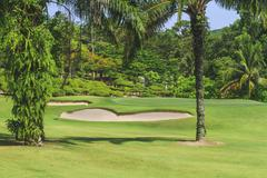golf course with bunker and green - stock photo