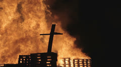 Stock Video Footage of burning down christian cross 1920x1080, 1080p