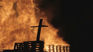 Stock Video Footage of burning christian cross