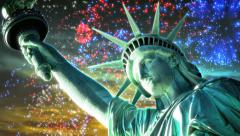 Liberty at Sunset with Fireworks Stock Footage