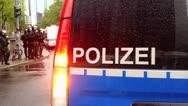 Stock Video Footage of Occupy Frankfurt demonstration police flashing blue light