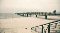 Pier in summer vintage Stock Footage