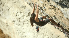 Woman - climber Stock Footage