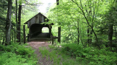 Old covered bridge in the woods Stock Footage