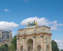 Triumphal arch (arc de triomphe du carrousel) at tuileries. paris, france Stock Photos