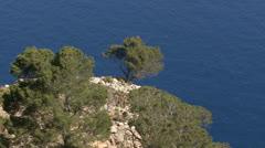 Majorca, Coast, Rock with Trees Stock Footage