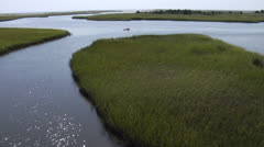 Helicopter POV of Kayaker in Intercoastal Waterway Stock Footage