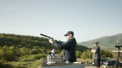 Shooting a pistol WS Stock Footage