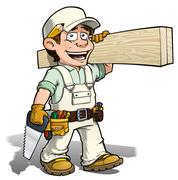 handyman - carpenter white - stock illustration