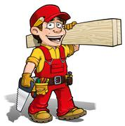handyman - carpenter red - stock illustration