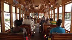 RIDING ON STREETCAR Stock Footage