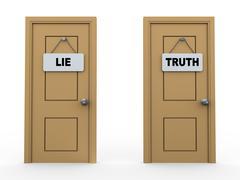 3d truth lie door Stock Illustration