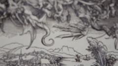 Gravure - Apocalypse -  Dürer - Voix de connaissances Stock Footage