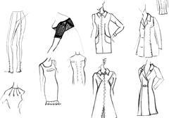 finishing details of women dresses - stock illustration
