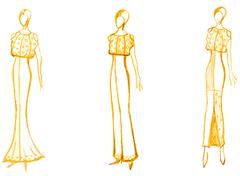 Stock Illustration of development of ladies evening gown