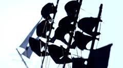Pirate ship sails alpha Stock Footage