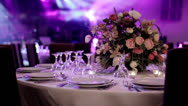 A well decorated wedding table 1 Stock Footage