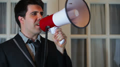 Business man microphone yell manager Stock Footage