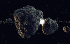 Meteors and planet. Space travel astronomy cosmos asteroids universe sun. - stock illustration