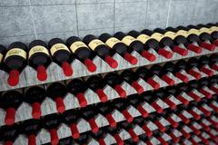 Wine bottles on a wooden shelf. - stock illustration