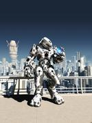 Alien Battle Droid - City Watch Stock Illustration