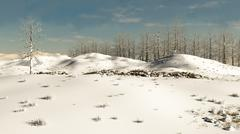 Snowy Winter Hillside Stock Illustration