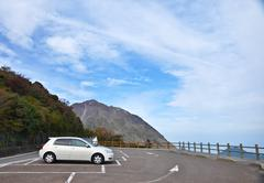 car park at view point along the way to obama, japan - stock photo