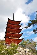 Five-storied pagoda at miyajima, hiroshima, japan Stock Photos