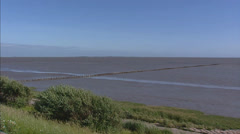 Wadden Sea - land reclamation - pan Stock Footage