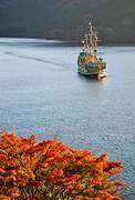 hakone sightseeing cruise at ashi lake, japan - stock photo