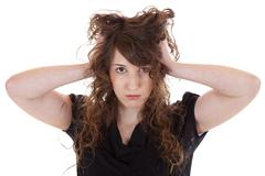 desperate young woman - stock photo