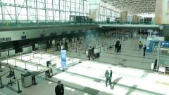 Airport terminal day Time-Lapse. Wide shot. Passengers check in area. Stock Footage