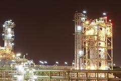 Chemical plant in night time Stock Photos