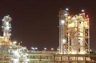 Stock Photo of chemical plant in night time