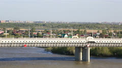 Bridge named after the sixtieth anniversary of victory. omsk. russia. Stock Footage