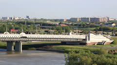 Stock Video Footage of bridge named after the sixtieth anniversary of victory. omsk. russia.