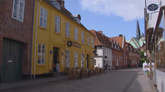 RIBE, DENMARK - main street in historical town + pan. Stock Footage