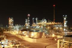 chemical plant in night time - stock photo