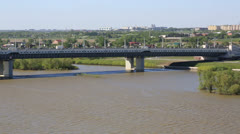 Panorama city of omsk on the irtysh river. russia. Stock Footage