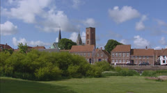 Skyline Ribe, the oldest town in Denmark Stock Footage